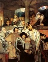 Jews Praying in the Synagogue on Yom Kippur